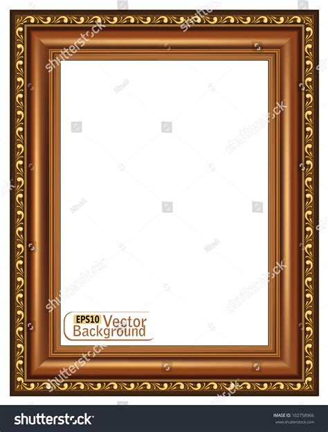 wood frame design vector gilded wooden framevector stock vector 102758966