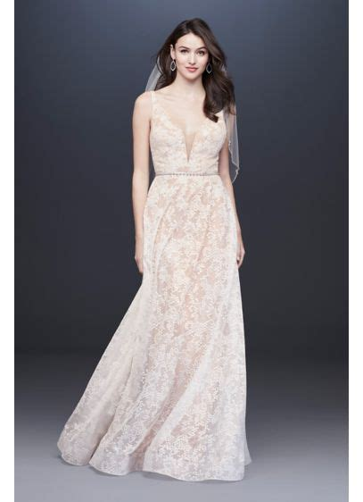 strappy lace sheath wedding dress  deep  neck david