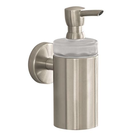 wall mount soap dispenser hansgrohe wall mount brass soap dispenser in brushed nickel 40514820 the home depot