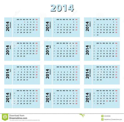 Calendario 2014 Con Semanas Calendario De 2014 Azules Fotos De Archivo Libres De