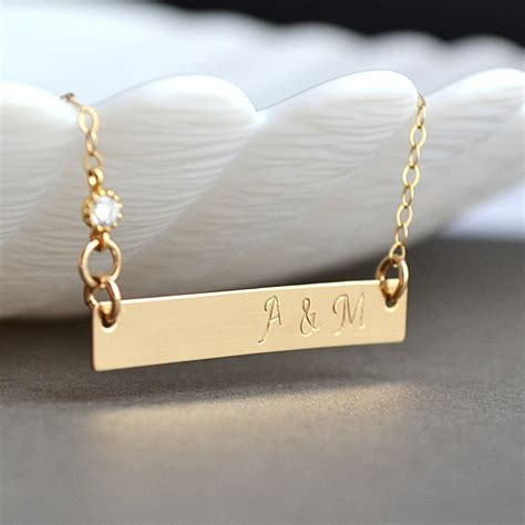 how to make custom gold jewelry personalized gold bar necklace initial bar necklace