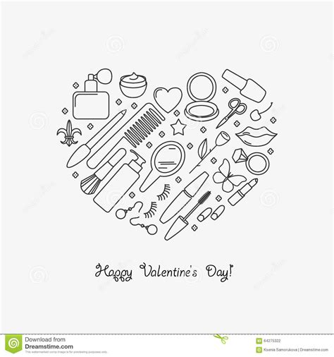 is there a haurdressers day happy valentine s day card with cosmetics stock vector
