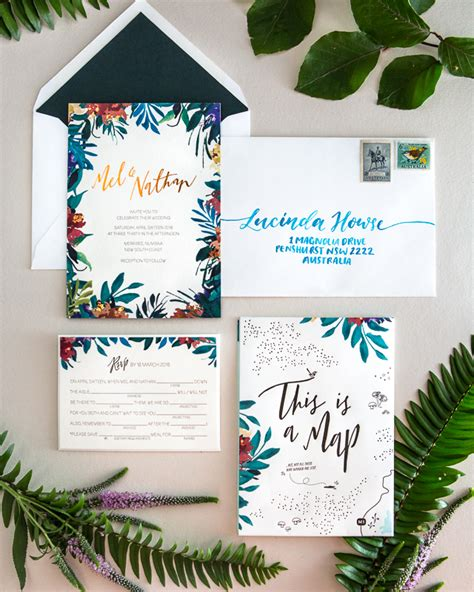 Tropical Wedding Invitations by Tropical Garden Copper Foil Wedding Invitations