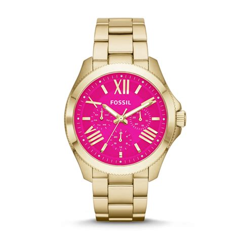 Fossil Cecile Am4539 Gold Pink fossil cecile multifunction stainless steel gold tone am4539 fossil 174