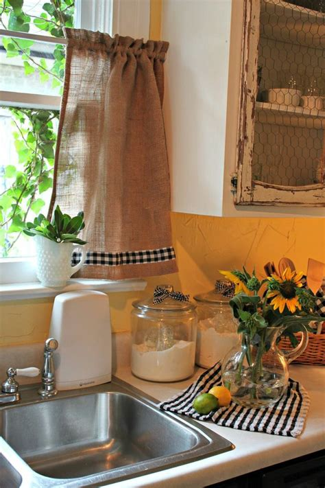 kitchen curtain ideas diy diy burlap curtain trimmed with checkered ribbon hung