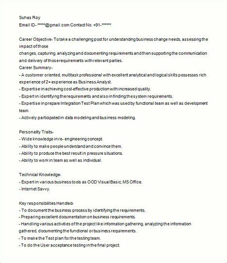 sle resume of business analyst 28 images sle business