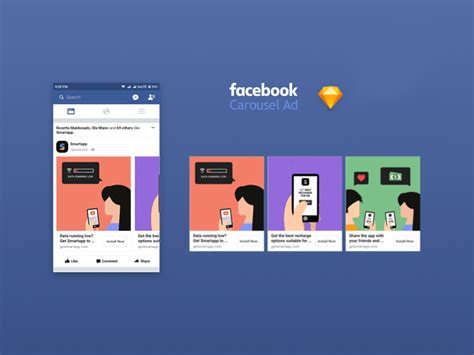 Facebook App Ad Carousel 2017 Mockup Fluxes Freebies Carousel Ads Template