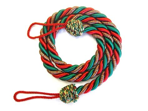 2 rope curtain tiebacks red green slender slinky cord