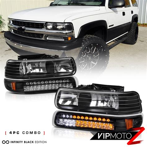 built in led 1999 2002 silverado 00 06 suburban tahoe black bumper headlight ebay