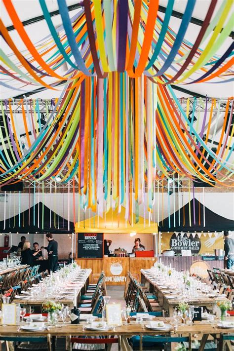 diy wedding in london warehouse venue with ribbon decor