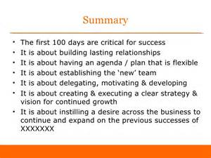first 100 days as sales director sample