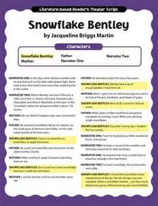 Snowflake Bentley Worksheets Readers Theater Snowflake Bentley Ep 2186