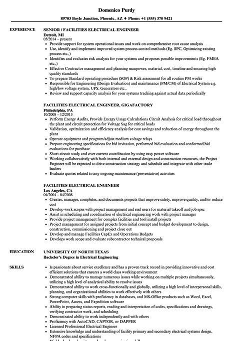 facility engineer resume facilities electrical engineer resume sles velvet