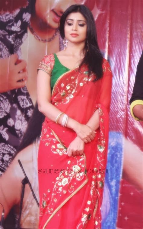 shriya sareeblousefashioncom shriya saran in transparent saree at ethir veechu audio launch