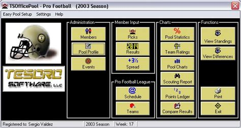 Office Football Pool Manager Screenshot Of Tsofficepool Pro Football Version 6 1 3