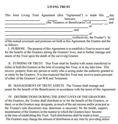 9 Sle Living Wills Pdf Sle Templates Living Trust Template California