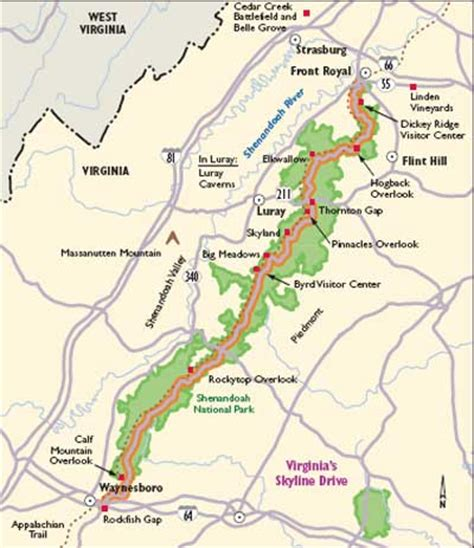 skyline drive map virginia scenic drives skyline drive howstuffworks