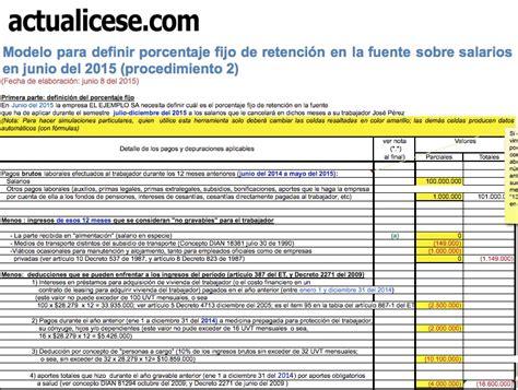 porcentajes de retenciones colombia 2016 procedimiento 2 modelos y formatos