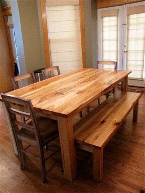 rustic solid hickory farmhouse table