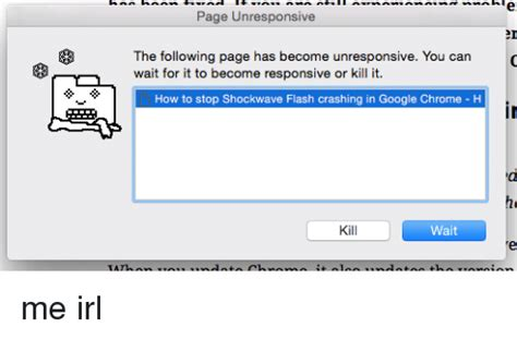 chrome unresponsive page unresponsive the following page has become
