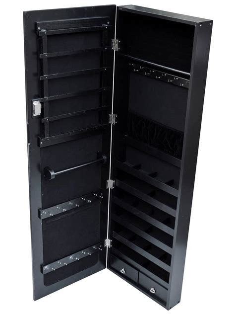 Black Mirrored Jewelry Armoire by Black Mirrored Jewelry Cabinet Armoire Organizer Storage