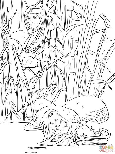 baby moses coloring page coloring home