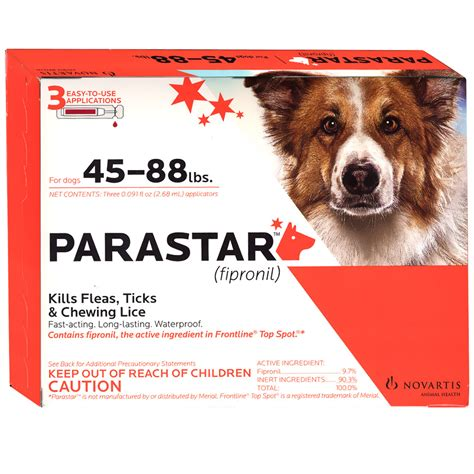 parastar for dogs 3 month parastar for dogs 45 88 lbs