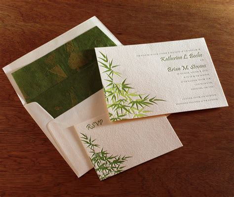 Bamboo Paper Wedding Invitations by Using Bamboo As A Motif For A Wedding Letterpress