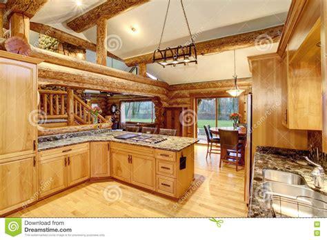 log cabin kitchen interior design  honey color