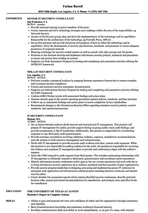 It Security Consultant Resume Sles Velvet Jobs It Security Resume Template