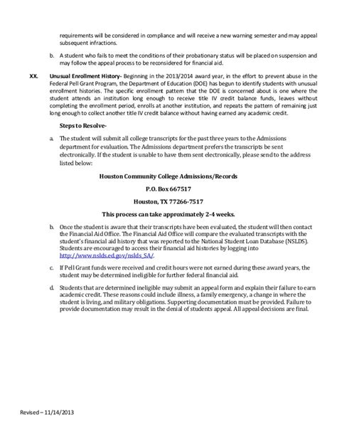Financial Aid Maximum Credit Appeal Letter 13 14 Sap Policy Revised For 2014 111413