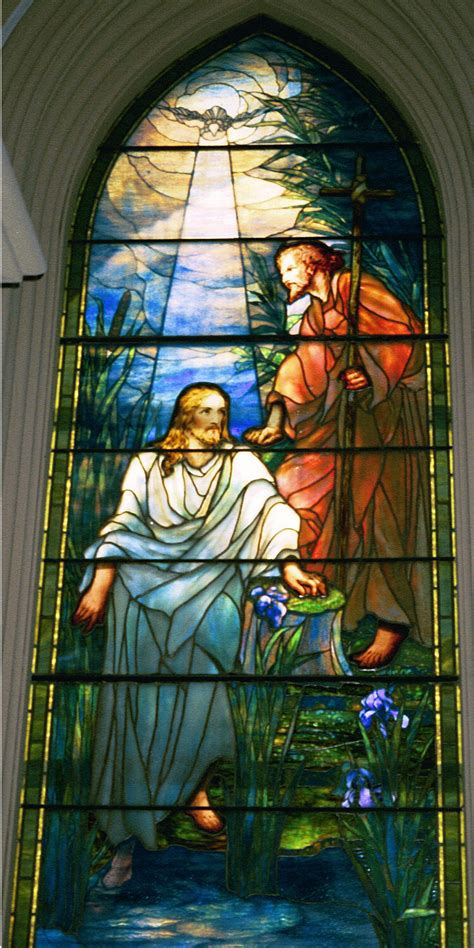 mt comfort church of christ the baptism of christ by louis comfort tiffany stained