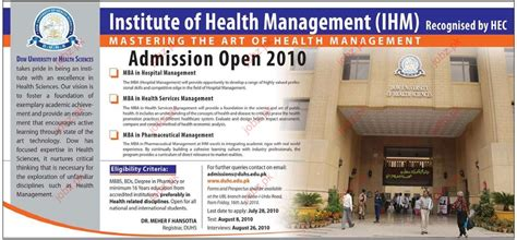 Mba In Healthcare Management In Karachi by Admission In Mba Hospital Management Mba In Health