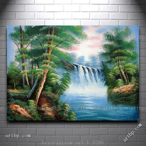 acrylic paint on canvas landscape gaint sheet waterfall scenery handpainted painting