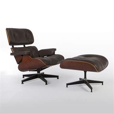 Original Herman Miller Brown Leather And Cherry Eames Eames Leather Chair And Ottoman