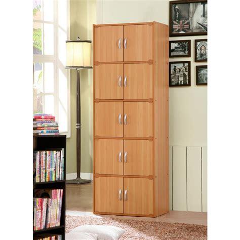 hodedah  shelf    beech bookcase  double doors