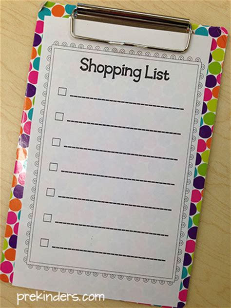 printable grocery list for preschoolers grocery store dramatic play center prekinders