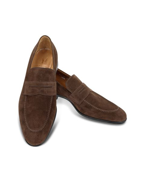 best suede loafers lyst moreschi izmir brown suede loafers in brown