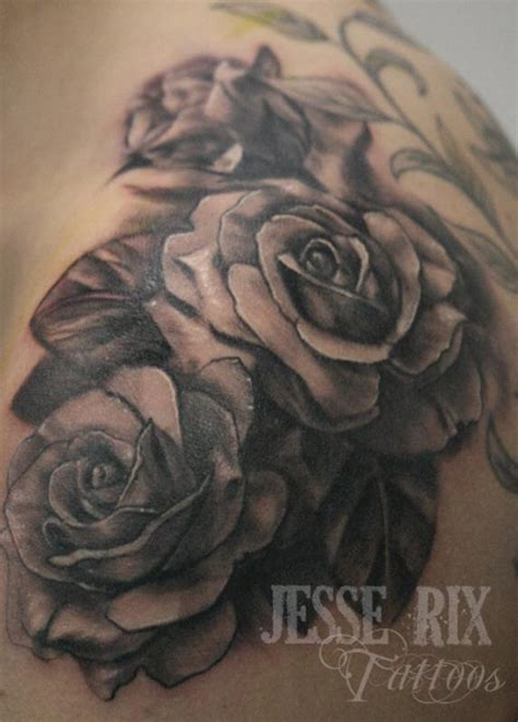black and grey roses tattoos ideas design