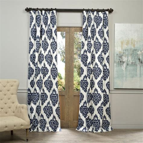 Bold Patterned Curtains Exclusive Fabrics Ikat Blue Printed Cotton Curtain Panel By Exclusive Fabrics Bold Colors