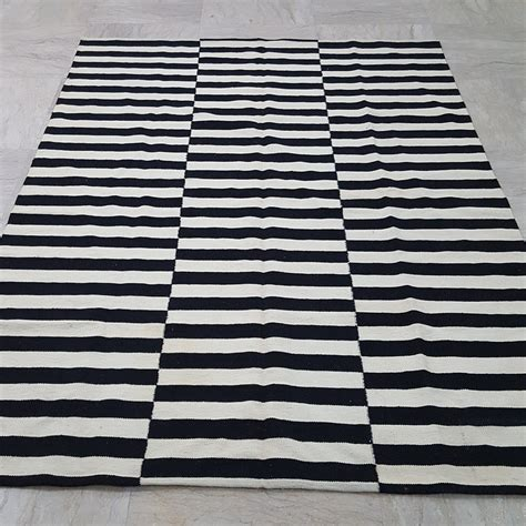 black and white stripe rug black and white striped rug handmade striped kilim rug white