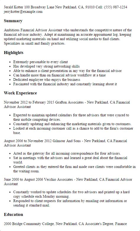 financial advisor resume exles professional financial advisor assistant templates to showcase your talent myperfectresume