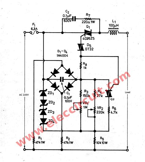 inductor schematic 3000 watts dimmer for inductor load electronic projects circuits