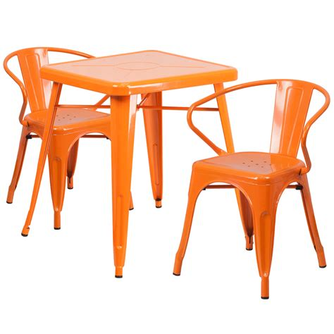 Metal Outdoor Table And Chairs by 23 75 Square Orange Metal Indoor Outdoor Table Set With