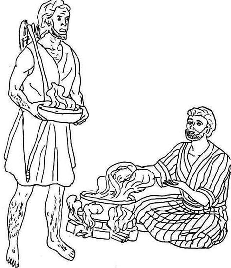 jacob and esau twins coloring page jacob want esau trade his birth right for a bowl of stew
