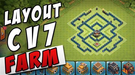 layout cv 7 farming youtube melhor layout cv7 farm th7 best farming base clash