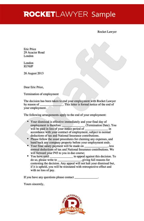 Termination Of Contract Of Employment Letter Template Uk Employment Contract Termination Letter Free Printable Documents
