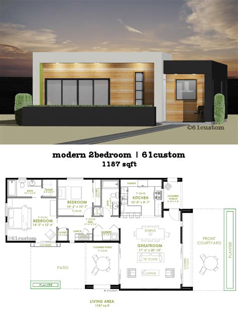 Modern Bathroom Plan by This Modern House Plan Offers Two Bedrooms Two Bathrooms