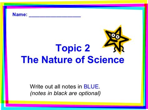 chapter 1 section 2 the nature of science topic 2 the nature of science