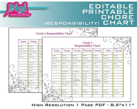 printable toddler responsibility chart editable printable chore chart responsibility chart 8